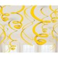 12 suspensions tourbillonnantes jaune 55.88cm
