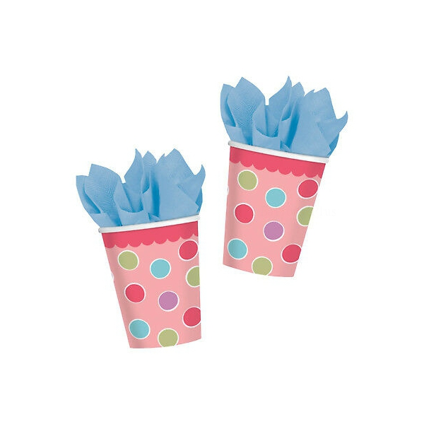 8 gobelets carton à points rose fille 266ml