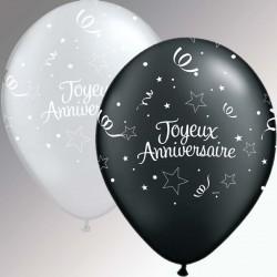 Joyeux Anniversaire ballons 28 cm qualatex noir et argentJAnoirargent28p2005770 QUALATEX Anniversaire Baudruches Imprimes