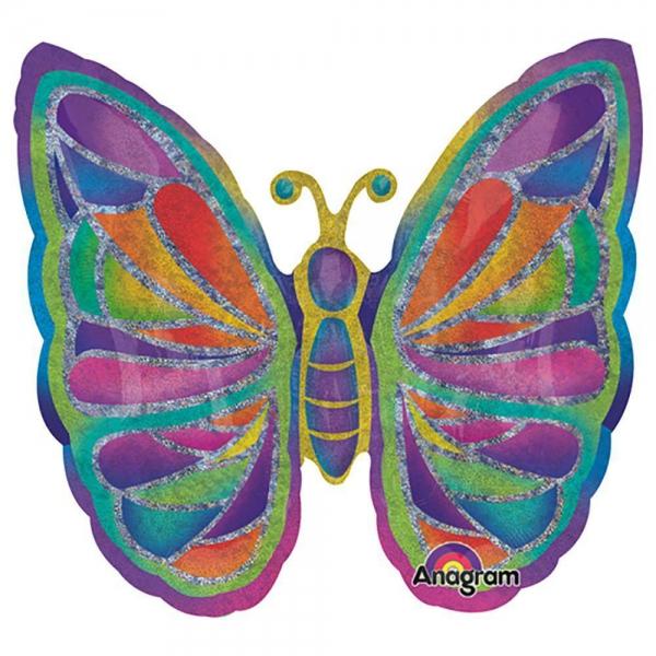 Papillons holographique ballon mylar 64*64cm23910 Papillons mylar