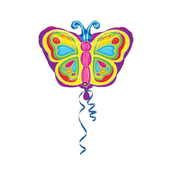 Papillons ballon mylar 45cm à plat