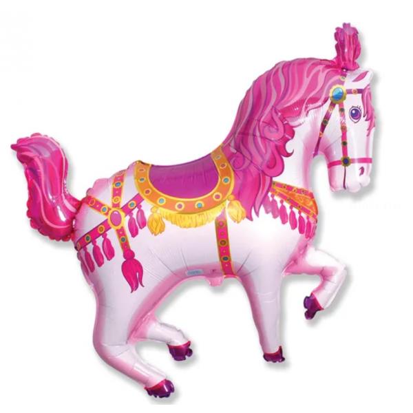 Cheval de manège rose forme longueur 70 cm