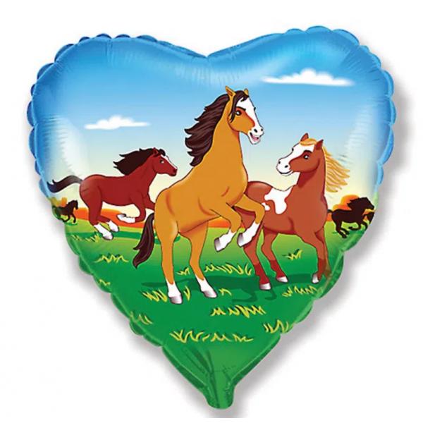 coeur imprimé chevaux ballon mylar 45 cm à plat