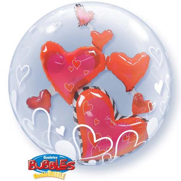 bubble ballon coeurs 3d 60.96cm
