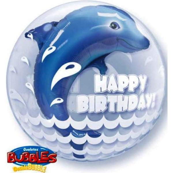 3d Dauphin Happy Birthday bubble double 61 cm