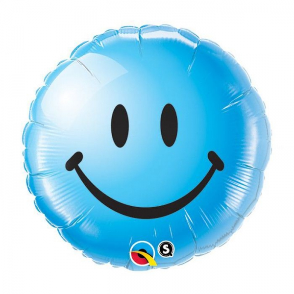 Smile bleu qualatex 45 cm à plat