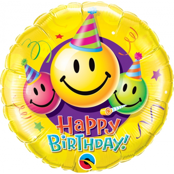 Smile Happy Birthday qualatex 45 cm à plat