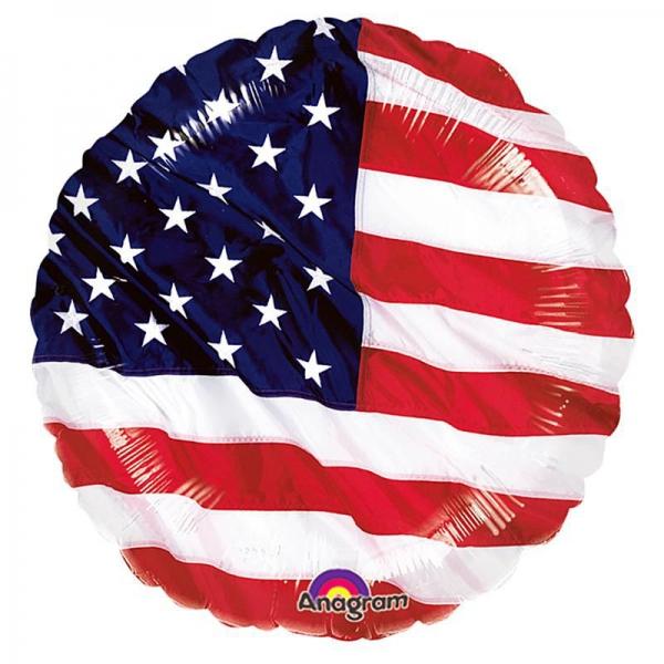 drapeau américain rond mylar 45 cm