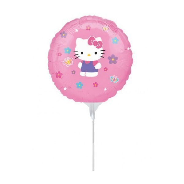 3 Hello Kitty 23 cm mylar air sur tige18783 AMSCAN mini ballons alu (gonflage exclusivement à l'air)