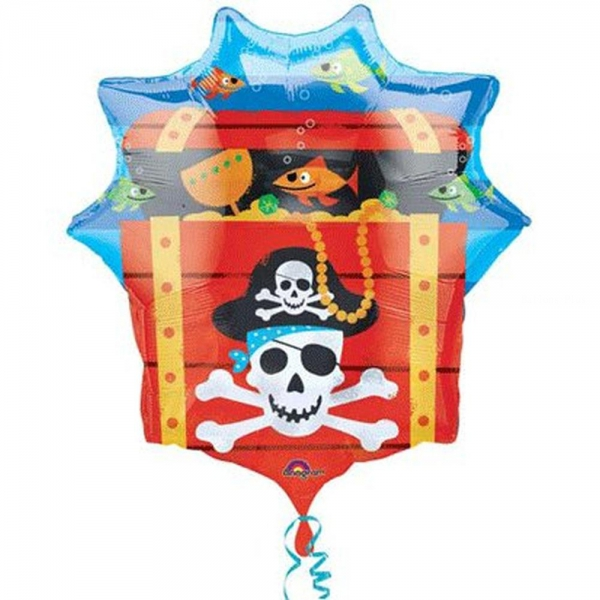 Coffre pirate ballon mylar 63 *71cm non gonflé