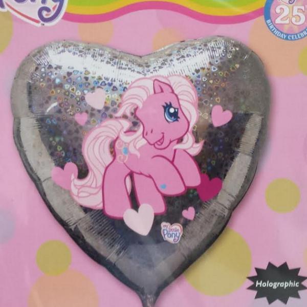 Petit poney ballon métal holographique coeur