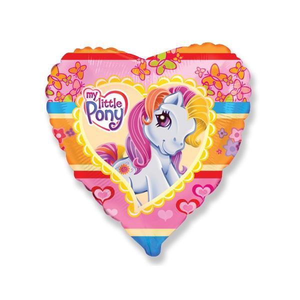 Petit poney ballon métal coeur