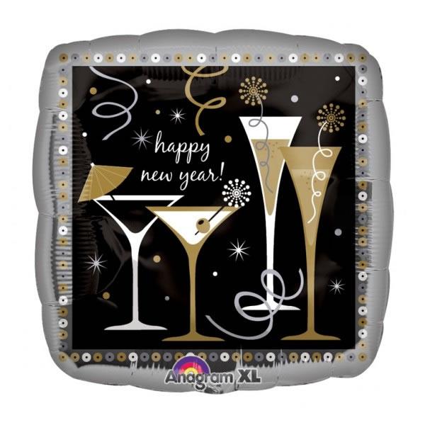 Happy New Year ballon métal
