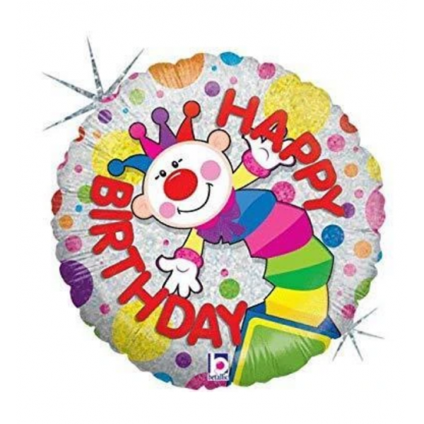 Clown Happy birthday ballon holographic rond5864350 BETALLIC Clowns