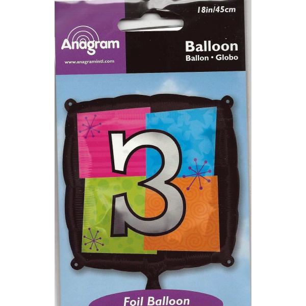 chiffre 3 ballon mylar carré 45cm