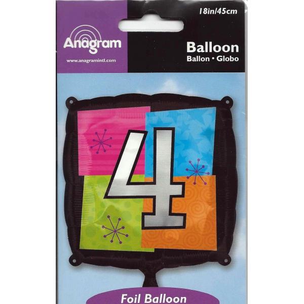Chiffre 4 ballon mylar caré 45 cm