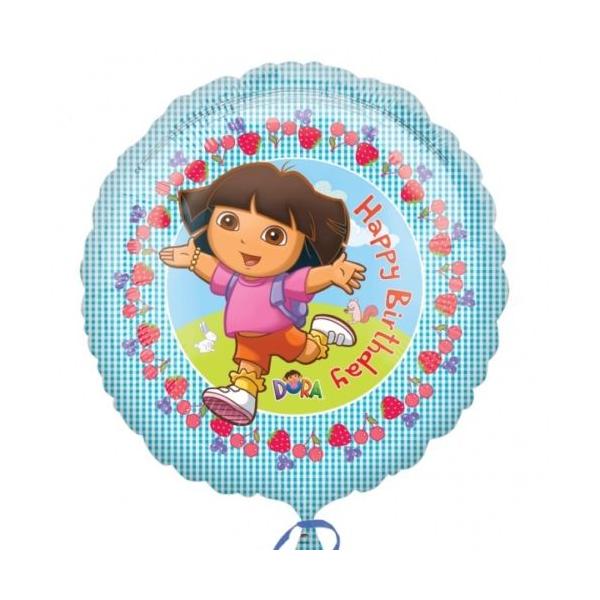 Dora et papillons ballon mylar rond 45 cm