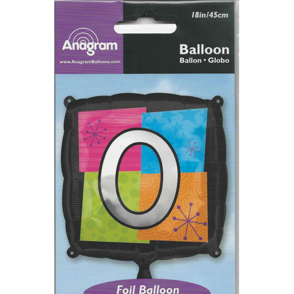 Chiffre 0 ballon mylar 45 cm
