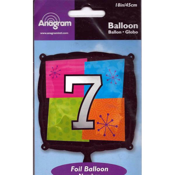 Chiffre 7 ballon mylar 45 cm