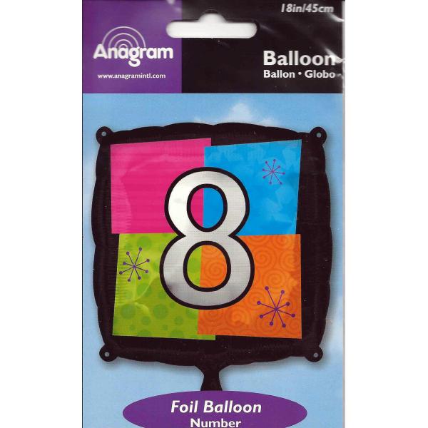 Chiffre 8 ballon mylar 45 cm
