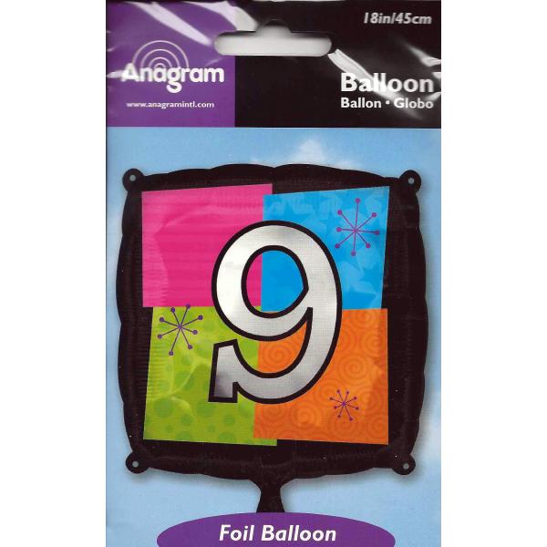 Chiffre 9 ballon mylar 45 cm
