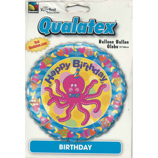 Pieuvre Smile Happy Birthday qualatex 45 cm