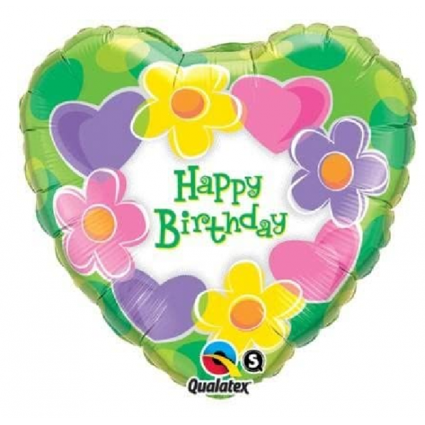 Coeur fleur Happy birthday 45cm