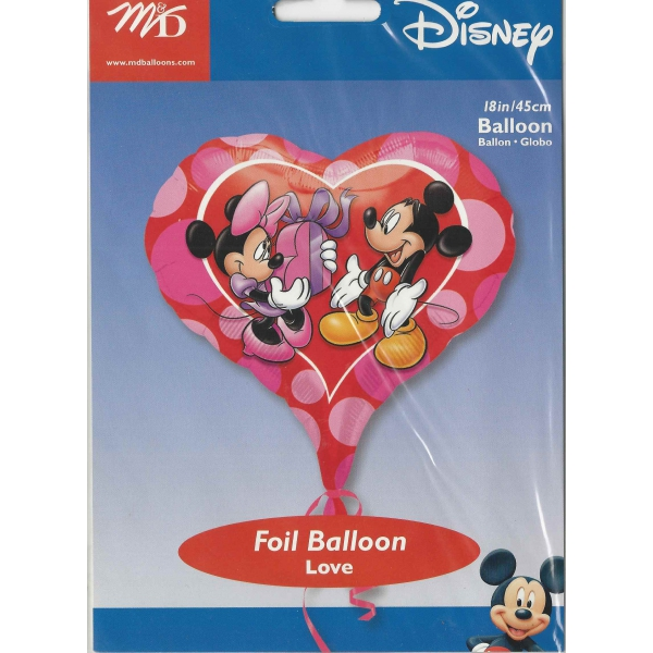 Minnie et mickey love Coeur mylar 45 cm