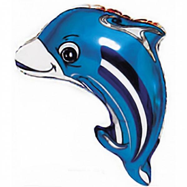 ballon petit dauphin bleu mylar 63 cm