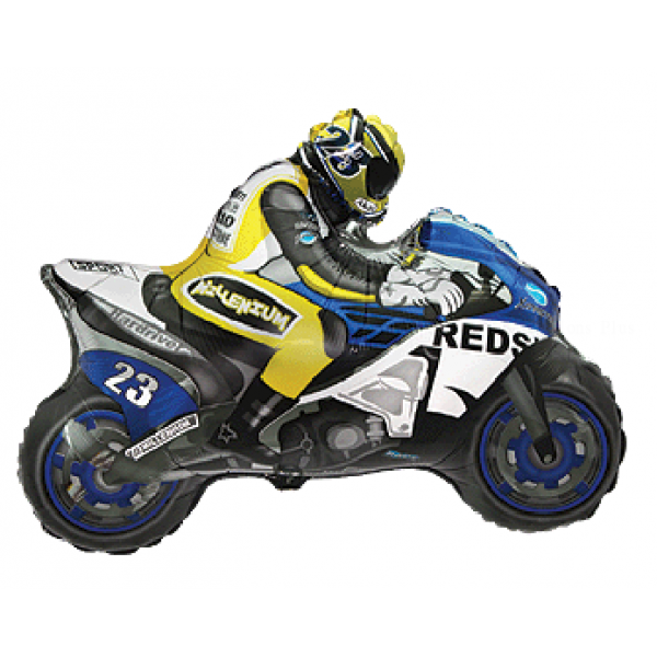 moto bleu en mylar 70 *84cm