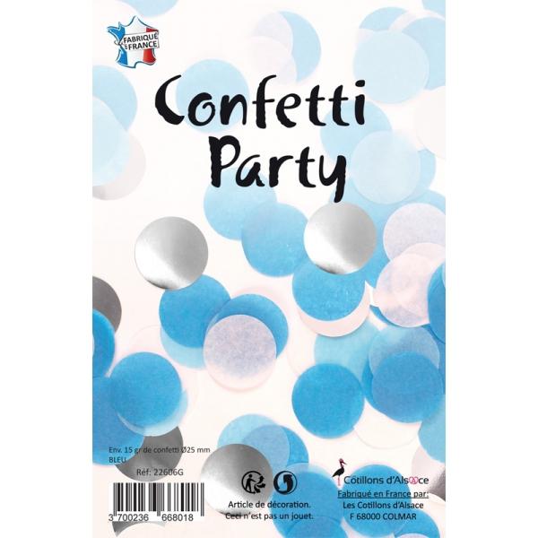 Confettis rond mélange bleu argent 15 grs 25mmØ
