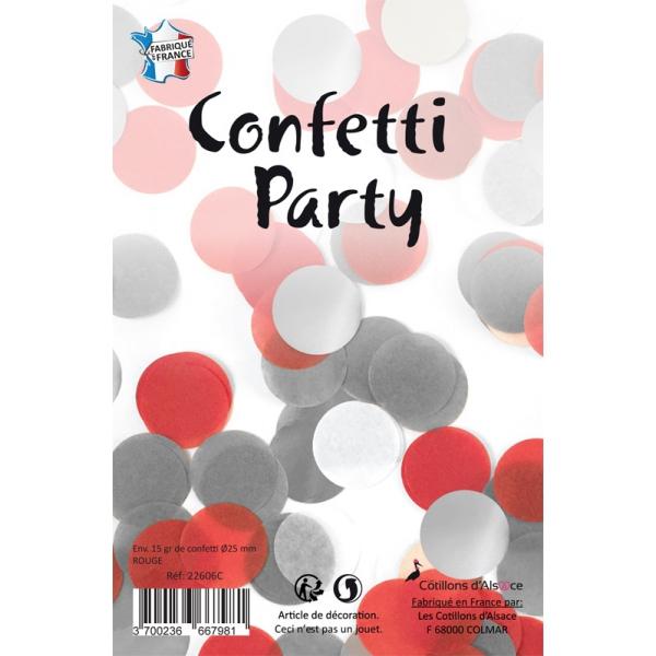 Confettis rond mélange rouge argent 15 grs 25mmØ