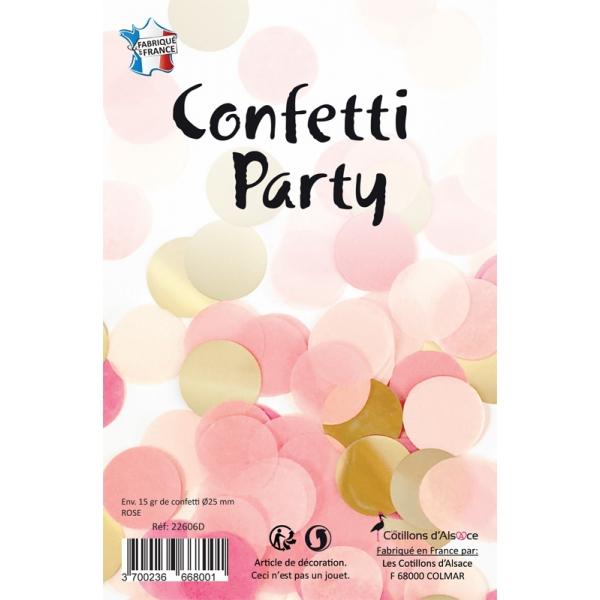 Confettis rond mélange or rose fuschia 15 grs 25mmØ