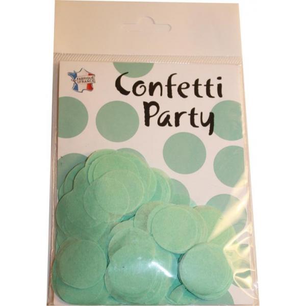 Confettis ronds vert d'eau 15 grs 25mmØ