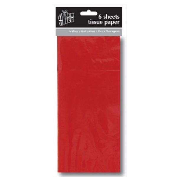 papier de soie rouge paquet de 6 feuilles 50*70cm
