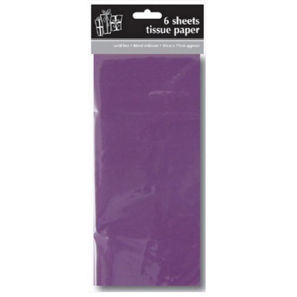 papier de soie violet paquet de 6 feuilles 50*70cm