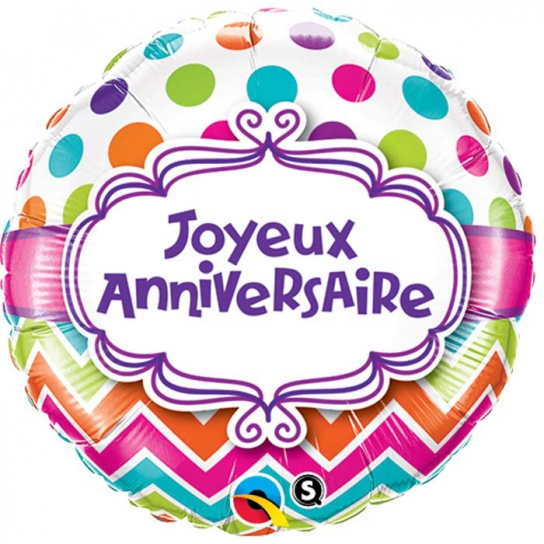 joyeux anniversaire ballon métal qualatex 45 cm