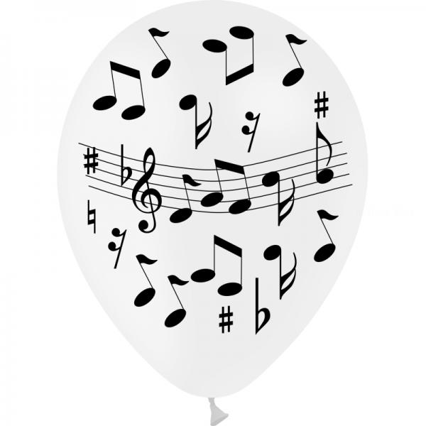 25 ballons blanc 28 impression notes musique