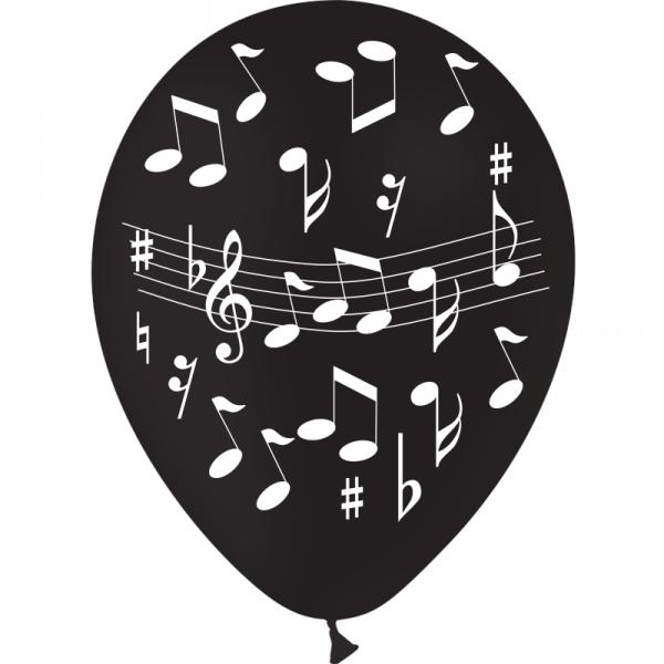 25 ballons noir 28 impression notes musique