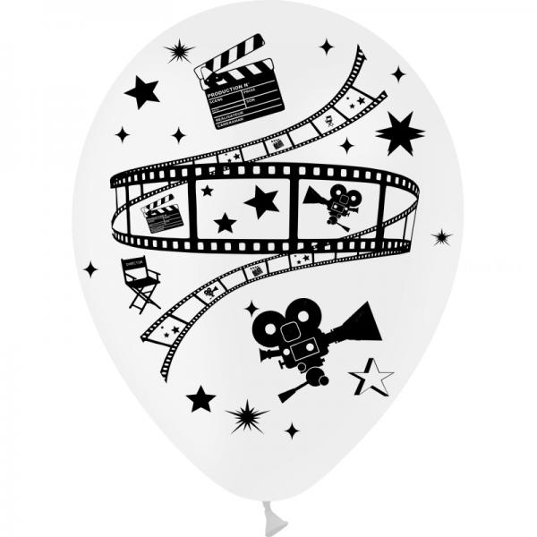 25 ballons blanc 28 cm sur le thème du cinéma
