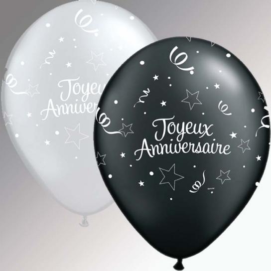 Joyeux Anniversaire 50 ballons 28 cm noir et argent