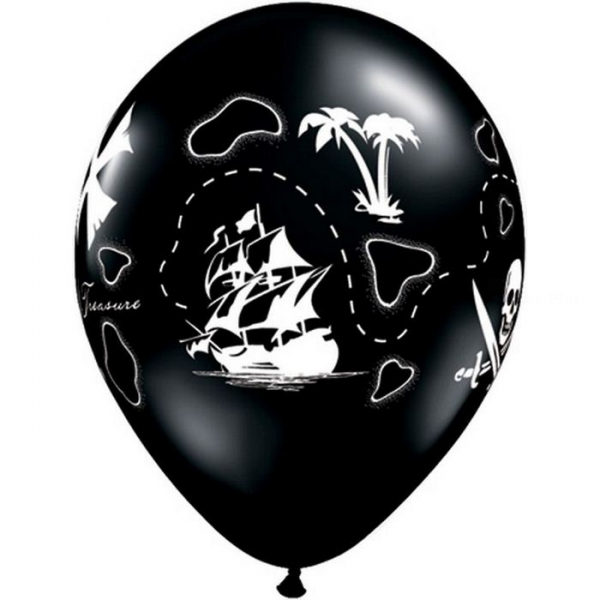 5 ballons pirate la carte au tresor qualatex 28 cm