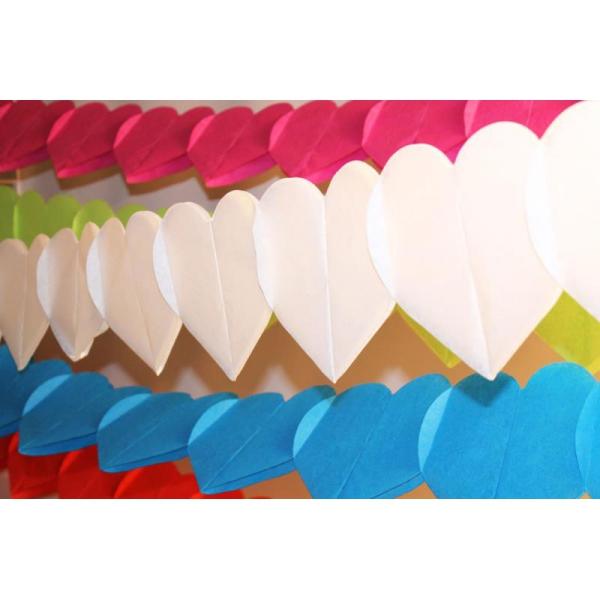 guirlande papier coeur blanc 4 m