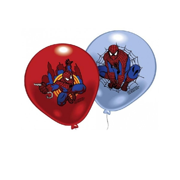 8 ballons Spiderman 23 cm imprimé 1 face couleur