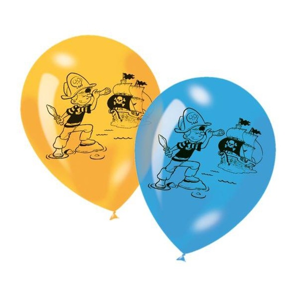 6 ballons pirates 23 cm imprimé 1 face