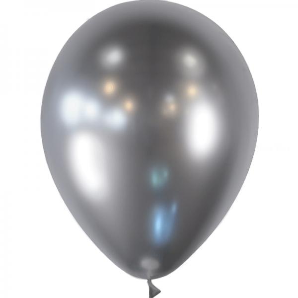10 ballons argent effet miroir métal 28 cm