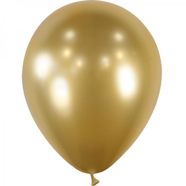 10 ballons or effet miroir métal 28 cm