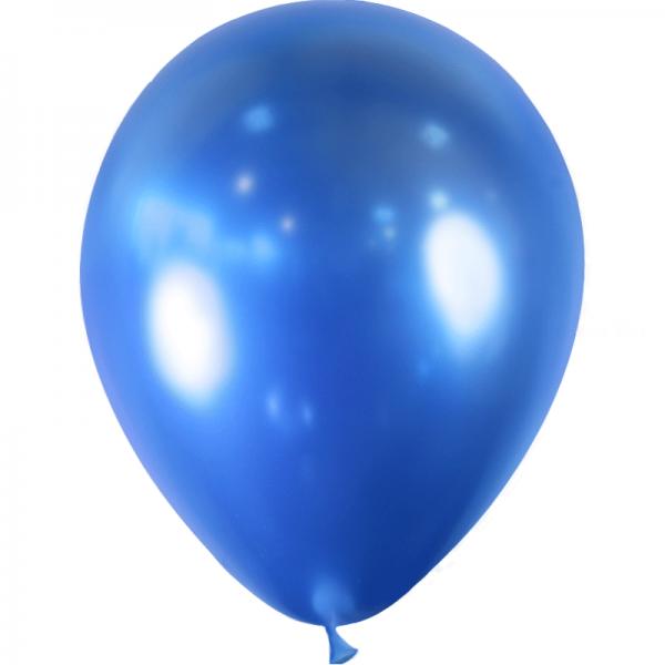 10 ballons Bleu effet miroir métal 28 cm