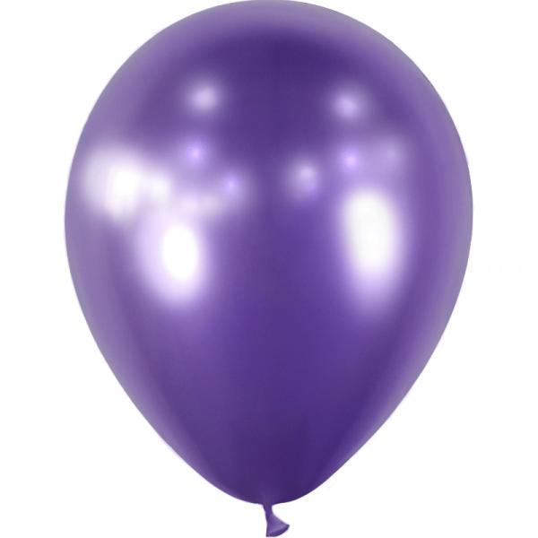 10 ballons Violet effet miroir métal 28 cm