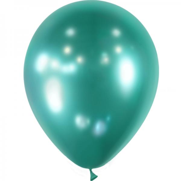 10 ballons vert effet miroir métal 28 cm